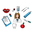 Dental medicine and dentistry icons vector image