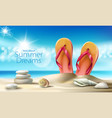 turquoise background with summer sandy vector image