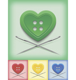 Heart shaped button and crossed needles vector image