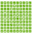 100 coin icons set grunge green vector image vector image