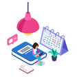 3d isometric online learning concept woman with a vector image