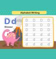 alphabet letter d-dinosaur exercise with cartoon