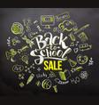 back to school sale on blackboard vector image vector image
