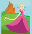 beautiful queen in front of her castle