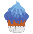 blue cupcake on white background vector image vector image