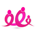 breast cancer figures ribbon unity group icon vector image
