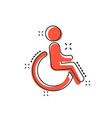 cartoon man in wheelchair icon in comic style vector image