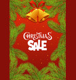 christmas sale with branches on red background vector image vector image