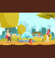 city park people composition vector image