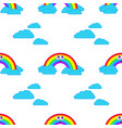 color seamless pattern of smiling cute rainbows vector image vector image
