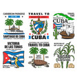 cuba tourist travel caribbean vacation icons vector image vector image