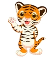Cute baby tiger cartoon waving vector image vector image