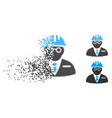decomposed dotted halftone blind engineer icon vector image vector image