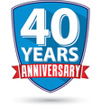 Flat design 40 years anniversary label with red vector image vector image
