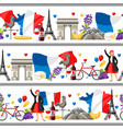 france seamless borders vector image vector image