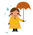 Girl in raincoat under rain vector image