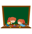 girl leaning geometry on blackboard template vector image