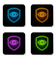 glowing neon shield and eye icon isolated on vector image
