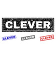 grunge clever textured rectangle stamp seals vector image vector image