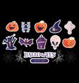 halloween cartoon elements set stickers vector image vector image