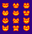 halloween face icon sticker set vector image vector image