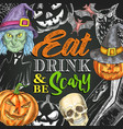 halloween night party monster sketch poster vector image vector image