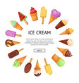 ice cream in waffles cone round composition vector image vector image