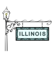 Illinois retro pointer lamppost vector image vector image