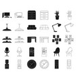 interior of the workplace blackoutline icons in vector image vector image
