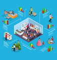 isometric holiday shopping infographic concept vector image vector image