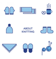 Knitted clothing Set of flat line icons Modern vector image vector image