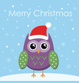 merry christmas greeting card flat owl in santa vector image