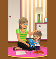 mother daughter playing together vector image vector image