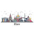 outline kiev ukraine city skyline with color vector image vector image