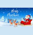 santa claus on sleigh vector image vector image