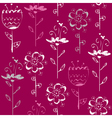 Seamless pattern with light sketch flowers on vector image vector image