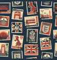 Seamless pattern with postage stamps on uk theme