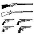 set cowboy weapon revolverswinchester rifle vector image vector image