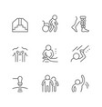 set line icons physical therapy vector image