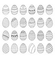 set of easter eggs with different patterns vector image vector image