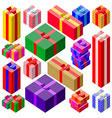Set of various sizes colorful gift boxes vector image
