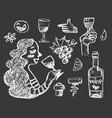 set white chalk wine doodle vector image vector image