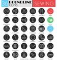 Sewing circle white black icon set Modern vector image vector image