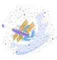 space station orbiting around earth spaceflight vector image