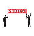 two man hold red streamer with big sign protest vector image