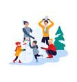winter activities happy family making snowman vector image