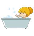 a girl taking bath vector image