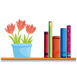 A wooden shelf with a pot of flower and books vector image vector image