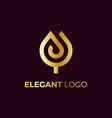 abstract elegant golden tulip logo design vector image