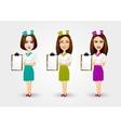 beautiful waitresses pointing to menu vector image vector image